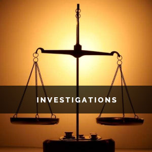 the scales of justice with the word Investigations superimposed over it.