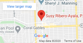 Google map where the office of Susy Ribero-Ayala, P.A. is located